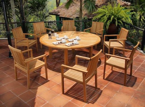 Barlow Tyrie Drummond Set 1 180cm Solid Teak Dining Table & Linear Dining Armchairs 1LIA 2DR18 Avant Garden (formatted)