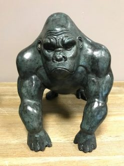 Gorilla Modern Black Small Solid Bronze Sculpture (1) | Avant Garden