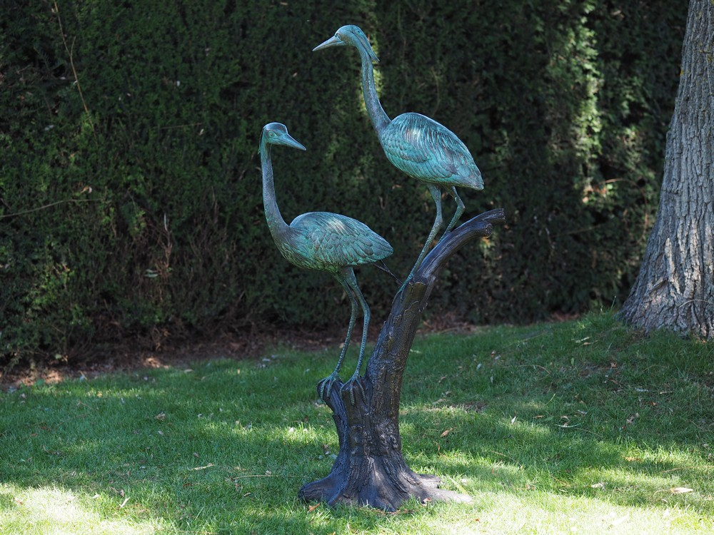 Garden Ornament Bronze Crane Sculpture 130cm BI 90 Perched 1 | Avant Garden