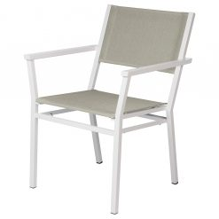 Equinox Arctic White Carver Chair Seagull Sling Stacking Powder Coated By Barlow Tyrie 1 | Avant Garden