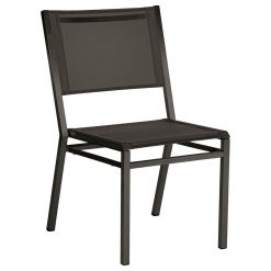 Equinox Graphite Dining Chair Carbon Sling Stacking Stainless Steel Powder Coated By Barlow Tyrie 1 | Avant Garden
