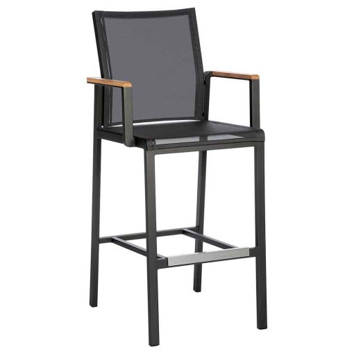 Aura Graphite High Dining Dining Carver Charcoal Sling Teak Trim by Barlow Tyrie 1 | Avant Garden