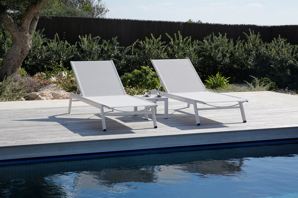 Equinox Arctic White Sunlounger Powder Coated Seagull Sunbrella Sling Stainless Steel by Barlow Tyrie 2 | Avant Garden