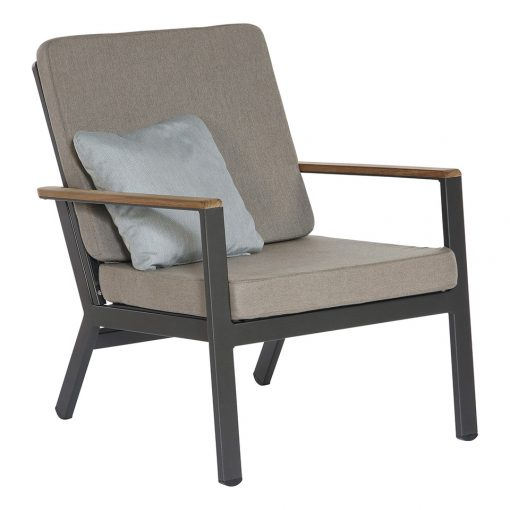 Aura Occasional Graphite Lounge Chair Powder Coated Outdoor Garden Furniture by Barlow Tyrie 1 | Avant Garden