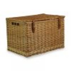 "Chest Hamper 24"" Natural Steamed Willow, Real Tan Leather, Integral Handles"