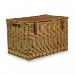 """Chest Hamper 24"""" Natural Steamed Willow, Real Tan Leather, Integral Handles"""