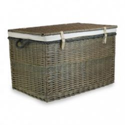 """Steamed Willow 29"""" Large Storage Hamper, Real Tan Leather- Rope Handles??Plain Cotton??Lining"""