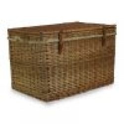 Steamed Willow Large Storage Hamper, Real Tan Leather- Rope Handles