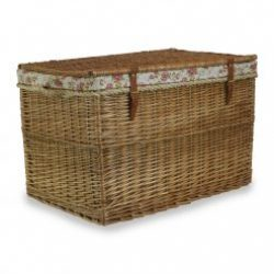 "Steamed Willow 29"" Large Storage Hamper, Real Tan Leather- Rope Handles Rose Design Lining"