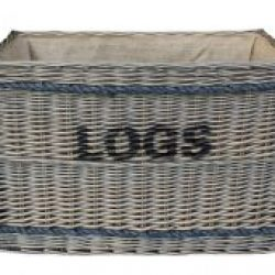 Ex Large Antique Wash Willow Log Basket with Hessian Lining & Rope Handles