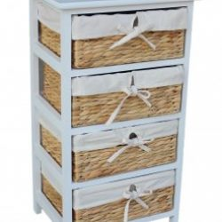 Water Hyacinth Four Basket White Painted Wood Unit