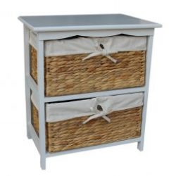 Water Hyacinth??Two Basket White Painted Wood Unit
