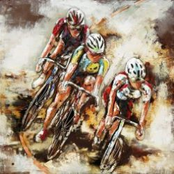 3D Metal Wall Art Cyclists Painting