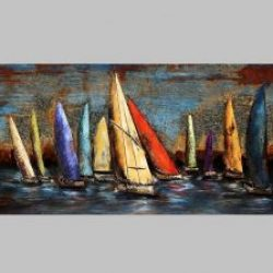 3D Metal Wall Art Sail Boats Painting