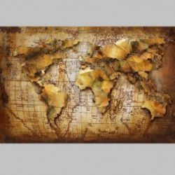 3D Metal Wall Art 3D World Map Painting