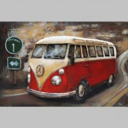 3D Metal Wall Art VW Bus 2 Painting