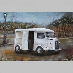 3D Metal Wall Art French Van Painting