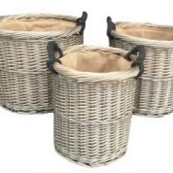 Willow Antique Wash Round Rope Handled, (set of three)??Pot Covers, Log Baskets, Room Tidies