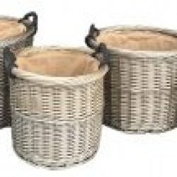 Willow Antique Wash Round Rope Handled, (set of four)??Pot Covers, Log Baskets, Room Tidies