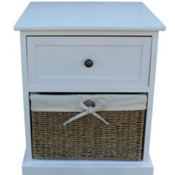 Single Drawer White Bedside Cabinet with Seagrass 1