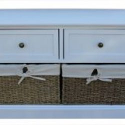 Two Drawer White Hallway Bench with Seagrass