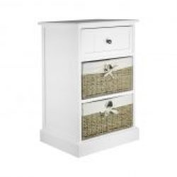 Two Drawer White Bedside Cabinet with Seagrass