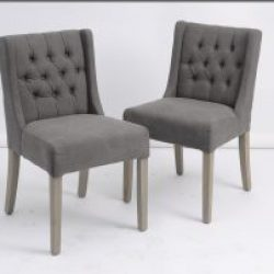 Clipper Mid Grey Low Back Button Dining Chair Set of Six