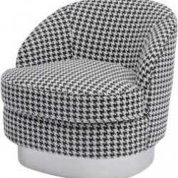 Halcyon Houndstooth Linen Fabric Occasional Chairs - Set of Two