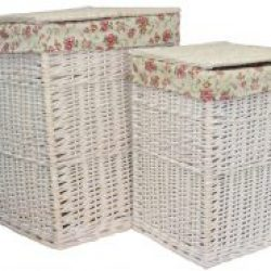 Laundry Hamper (set of two) Square White Wash with Garden Rose??Removable Cotton Lining & Integral Handles