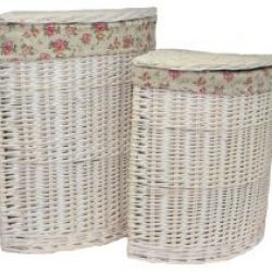 Laundry Hamper Corner (set of two) White Wash with Removable??Garden Rose??Cotton Lining
