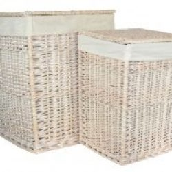 Laundry Hamper (set of two) Square White Wash with??White??Removable Cotton Lining & Integral Handles