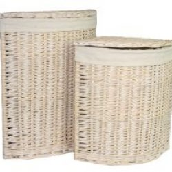 Laundry Hamper Corner (set of two) White Wash with Removable White Cotton Lining