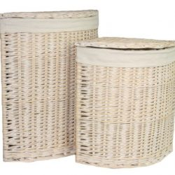 Laundry Hamper Corner (set of two) White Wash with Removable White Cotton Lining 1
