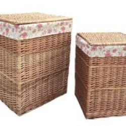 Laundry Basket (set of two) Square Natural Full Light Steamed Willow, Real Tan Leather, Removable??Garden Rose??Cotton Lining Integral Handles