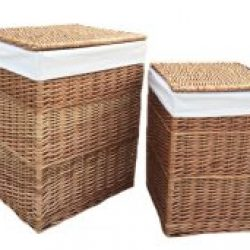 Laundry Basket (set of two) Square Natural Full Light Steamed Willow, Real Tan Leather, Removable White Cotton Lining