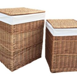 Laundry Basket (set of two) Square Natural Full Light Steamed Willow, Real Tan Leather, Removable White Cotton Lining 1