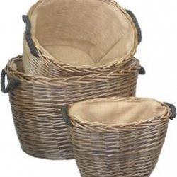 Willow Baskets (set of three) Handy Baskets, Natural Full Antique Wash Finish, Hessian Lining, Rope Handles