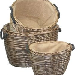 Willow Baskets (set of three) Handy Baskets, Natural Full Antique Wash Finish, Hessian Lining, Rope Handles 1