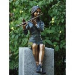Tall Girl Sitting with Flute