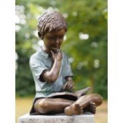 Fine Cast Bronze Sculpture Boy reading book