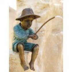 Fine Cast Bronze Sculptures Boy Fishing Fountain