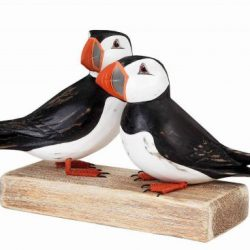 Archipelago Birds Christmas Gift Ideas, Archipelago Puffin Birds Wooden Sculpture. Two Puffin birds with their characteristic black and white underparts, distinctive black head with large pale cheeks and a tall, flattened, brightly coloured bill