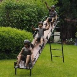 Fine Cast Bronze Sculpture: Children On Slide