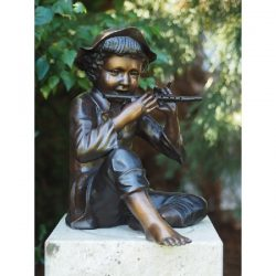 Boy Playing With Flute in Fine Cast Bronze