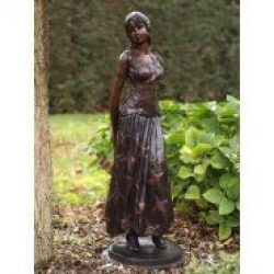 Fine Cast Bronze Sculptures Lady with Diary 115cm high