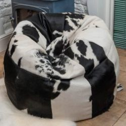 Cowhide Beanbag Luxuriously Large 10 Panel Black White
