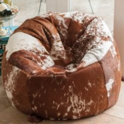 Cowhide Beanbag Luxuriously Large 10 Panel Tan & White