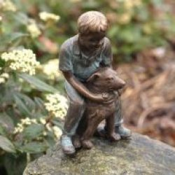 Fine Cast Bronze Sculpture Boy With Dog