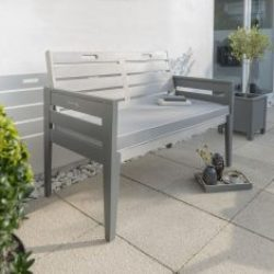 English Garden Range Two Seat Bench Set Greywash Grey