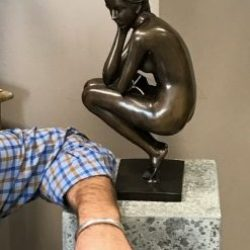 Fine Cast Bronze Sculpture of a Woman Squatting Down Thinking 36cm high